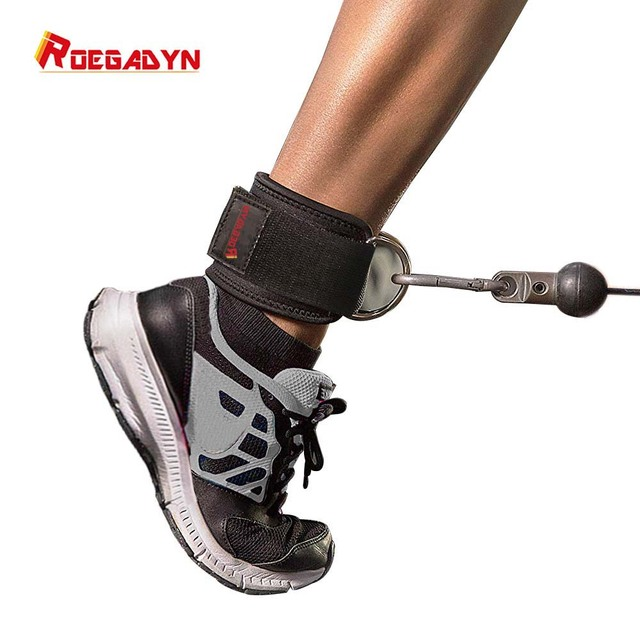 ROEGADYN Double D ring Adjustable 2PCS Fitness Ankle Guard Strap Leg Gym Training Lifting Hip Cable Foot Belt with Rope Bag