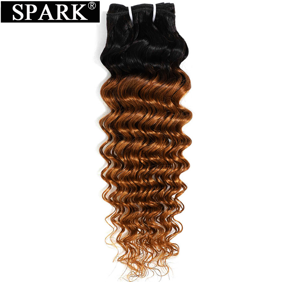 Spark Three Tone Ombre Brazilian Hair Deep Wave Human Hair Bundles Extensions 10-26inch 1/3/4 Bundles Remy Hair Weave 1B/30