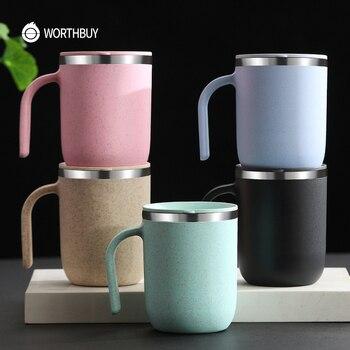 WORTHBUY 304 taza de café de acero inoxidable, paja de trigo, té, taza jarra para agua con cuchara, utensilios de cocina, taza de café a prueba de fugas