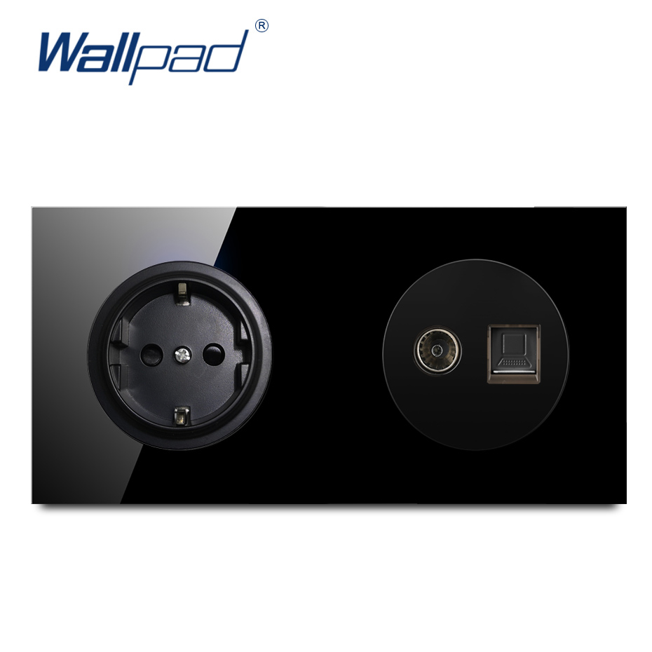 Wallpad EU German Socket With TV DATA Crystal Tempered Pure Black Glass Panel Wall Power Socket Outlet