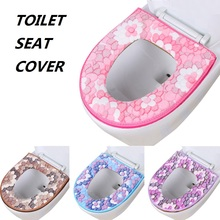 Flower Universal Toilet Seat Cover Winter Warm Toilet Seat Cushion Fleece Washable Toilet Seat Pad Closure Design For Bathroom