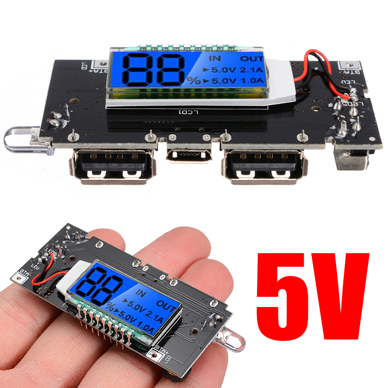 New Digital Display Dual USB 5V 1A 2.1A Mobile Power Bank 18650 Battery Charger PCBA Motherboard LCD Charging Module