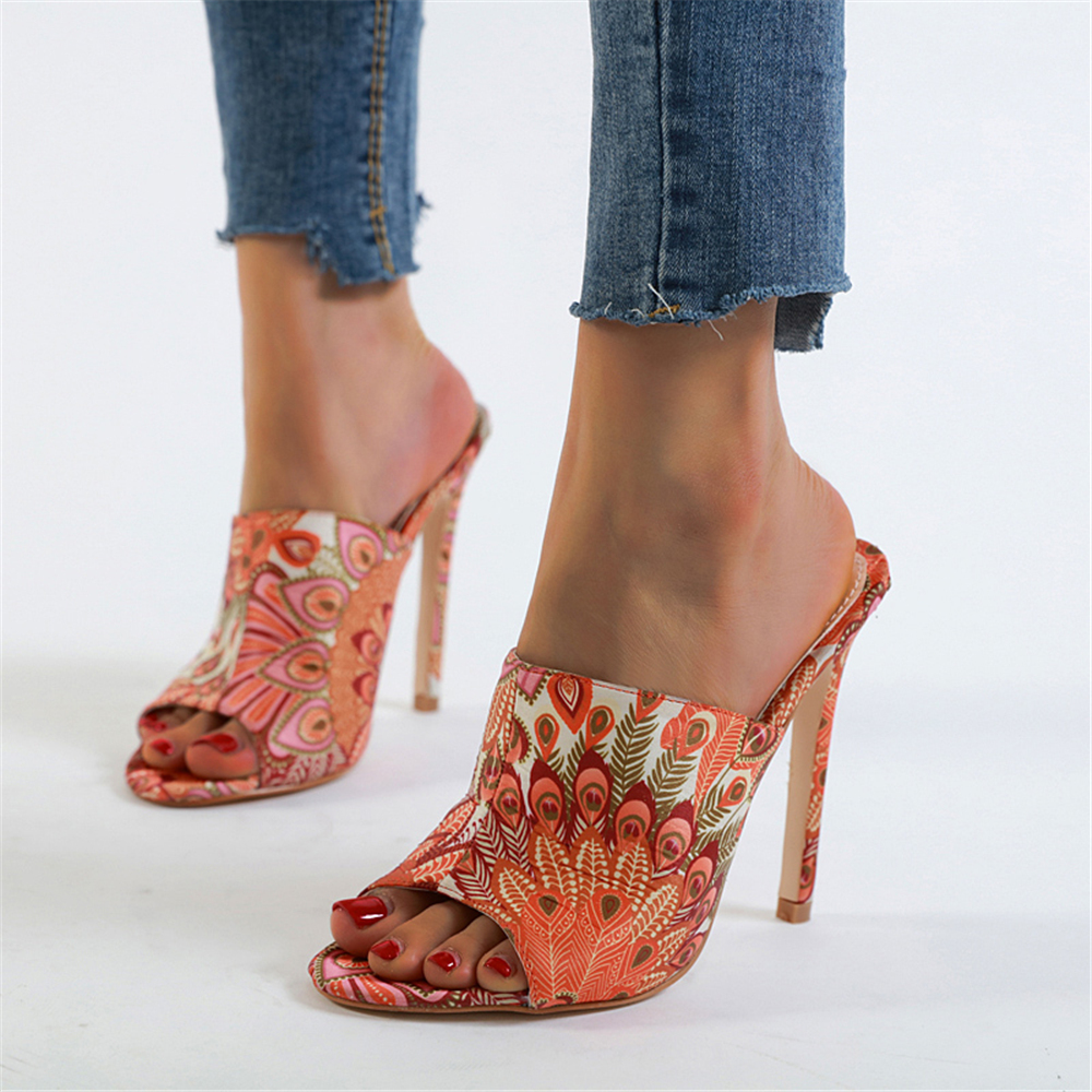 2020 new Summer Women Fashion 12cm High Heels peacock Slides Female Sexy Classic Mules Lady Fetish Scarpins Sandals Party Shoes