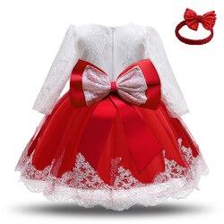 Одежда для маленьких девочек, платье принцессы, рождественское платье, платье для дня рождения; Возраст 1 Год Вечерние кружевное платье с дл...