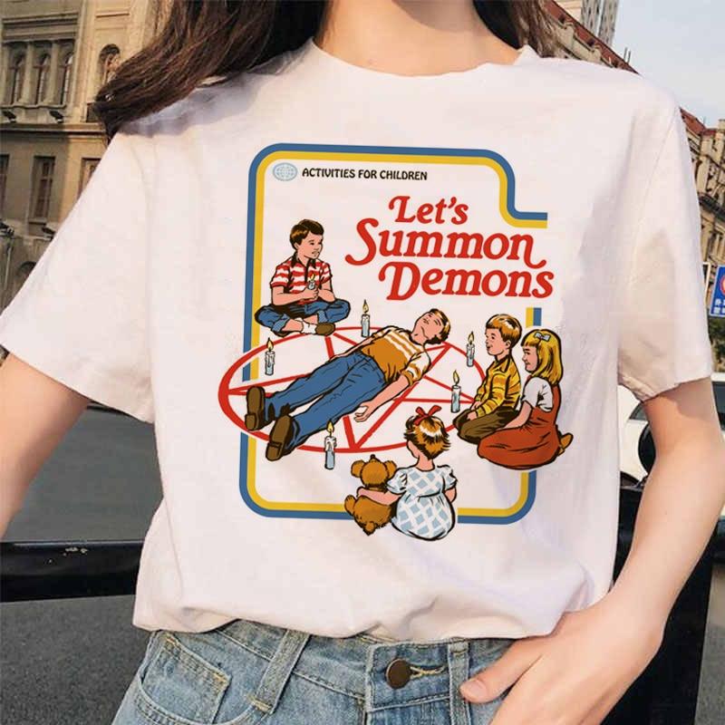 Aesthetic Satan Funny T Shirts Women Let's Summon Demons Graphic Tees Tops Harajuku Summer Tumblr T Shirt Female