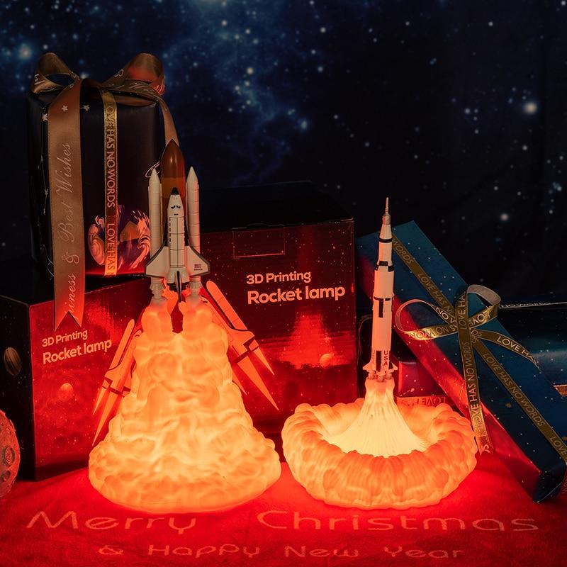 3D-Druck Space Shuttle Lampe Nachtlicht für Weltraumfans Mondlampe Raketenlampe