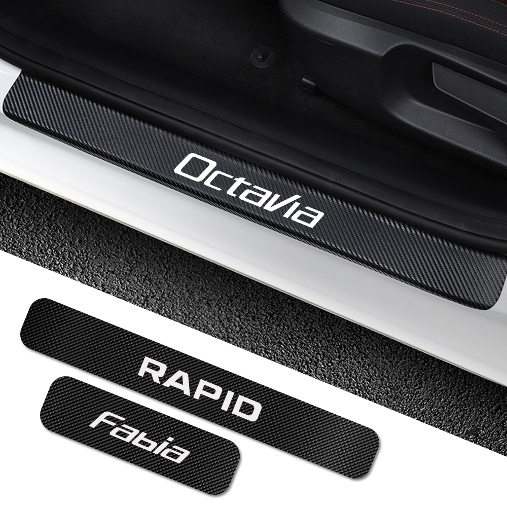 For Skoda Octavia 2 A7 A5 Fabia 3 Rapid Superb 3 Kodiaq Scala Karoq Kamiq 4PCS Car Door Sill Stickers Car Tuning Accessories