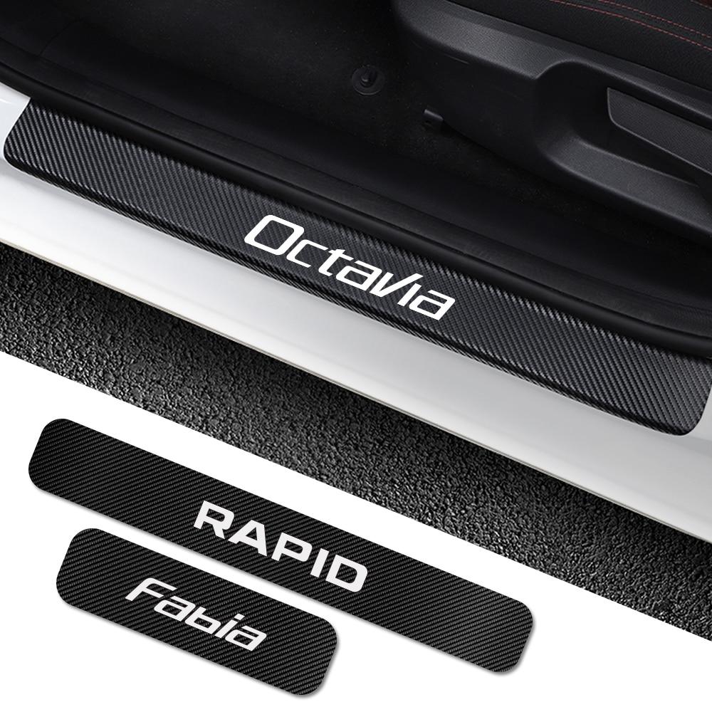 For Skoda Octavia 2 A7 A5 Fabia 3 Rapid Superb 3 Kodiaq Scala Karoq Kamiq 4PCS Car Door Sill Stickers Car Tuning Accessories-in Car Stickers from Automobiles & Motorcycles
