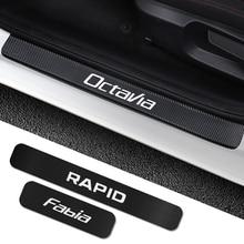 Pour Skoda Octavia 2 A7 A5 Fabia 3 Rapid superbe 3 kodiaq Scala Karoq Kamiq 4 pièces autocollants de seuil de porte de voiture accessoires de réglage de voiture