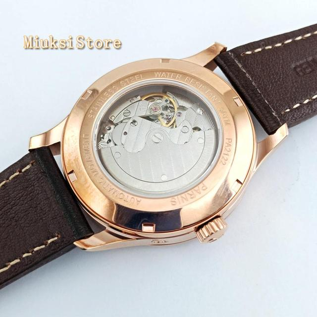Parnis 42mm Mens top mechanical watch rose gold dial Calendar leather Power Reserve Sea gull 1780 Automatic watches