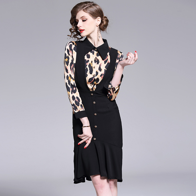 6191-2019 New Style Europe And America Mock Two-Piece Joint Leopard Hip Waist Hugging Fishtail Skirt Flounced Dress
