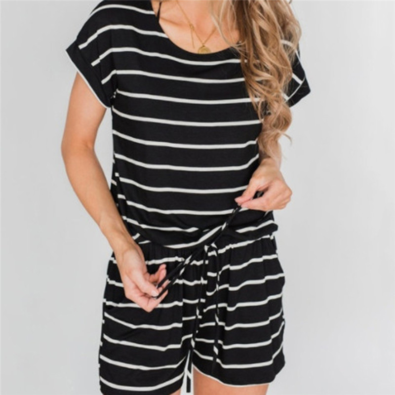 Women O Neck Jumpsuit Sexy Hollow Out Back Fashion Loose Piece Trousers Elegant Solid Short Sleeve Stripe lace-up Waist