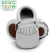 Hot sell Solid Genuine Leather baby Girls Boys Toddler moccasins handmade soft r