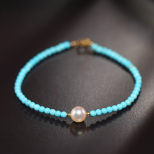 Sinya natural pearls and turquoise beads strand bracelets with 18k gold clasp for women girls lady new fashion design jewelry