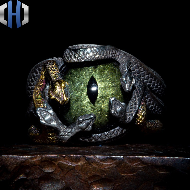 Original Design 925 Silber Schlange Ring Männlichen 24K Gold Schlange Ring Persönlichkeit Hüfte Hop Index Finger Ring Flut - 5