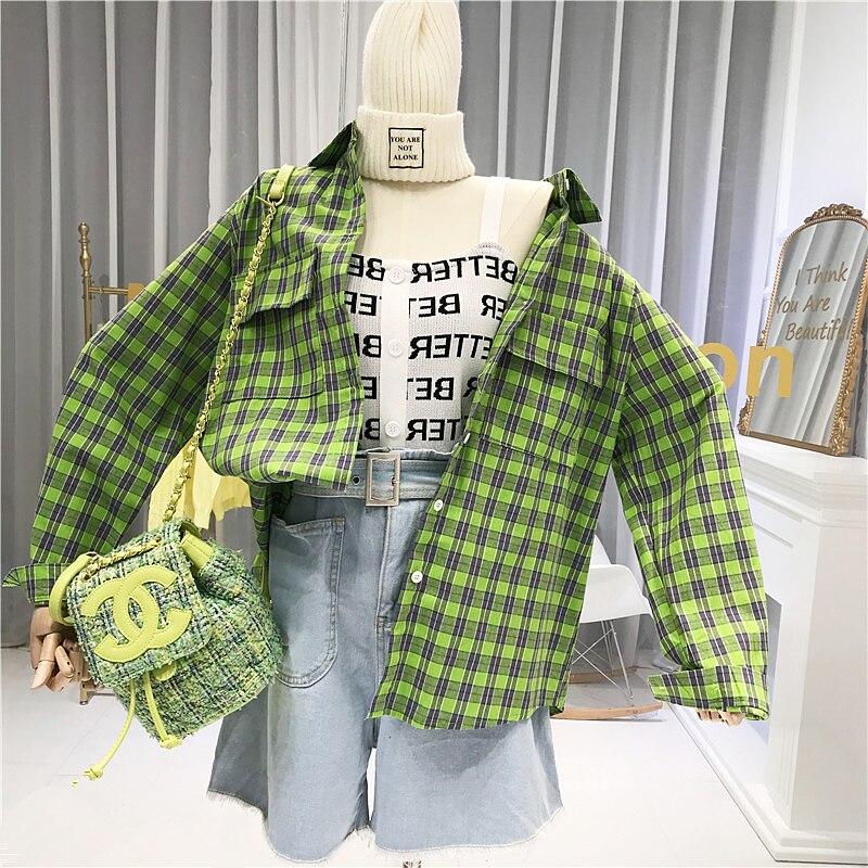 Green Plaid Long Sleeve Shirt Women Turn-down Collar Pockets Vintage 2020 Bluzki Letnie Damskie Blusas De Mujer Largos Sueltos