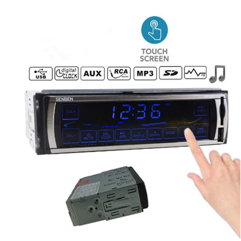 12V 2.5'' Car Radio Stereo FM Radios MP3 Audio Player 5V Charger USB/SD/AUX-in Touch Screen control panel In-Dash 1 DIN image