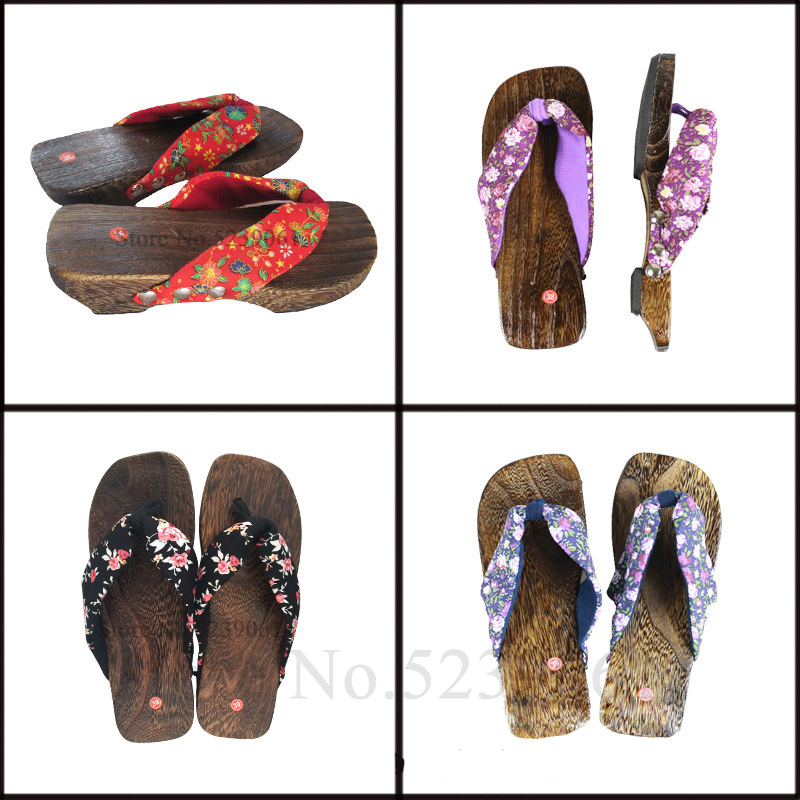 Women Anime Cosplay Oriental Geta Clogs Japanese Traditional Kimono Flip Flops Wooden Shoes Sauna Slippers Floral Print Sandals