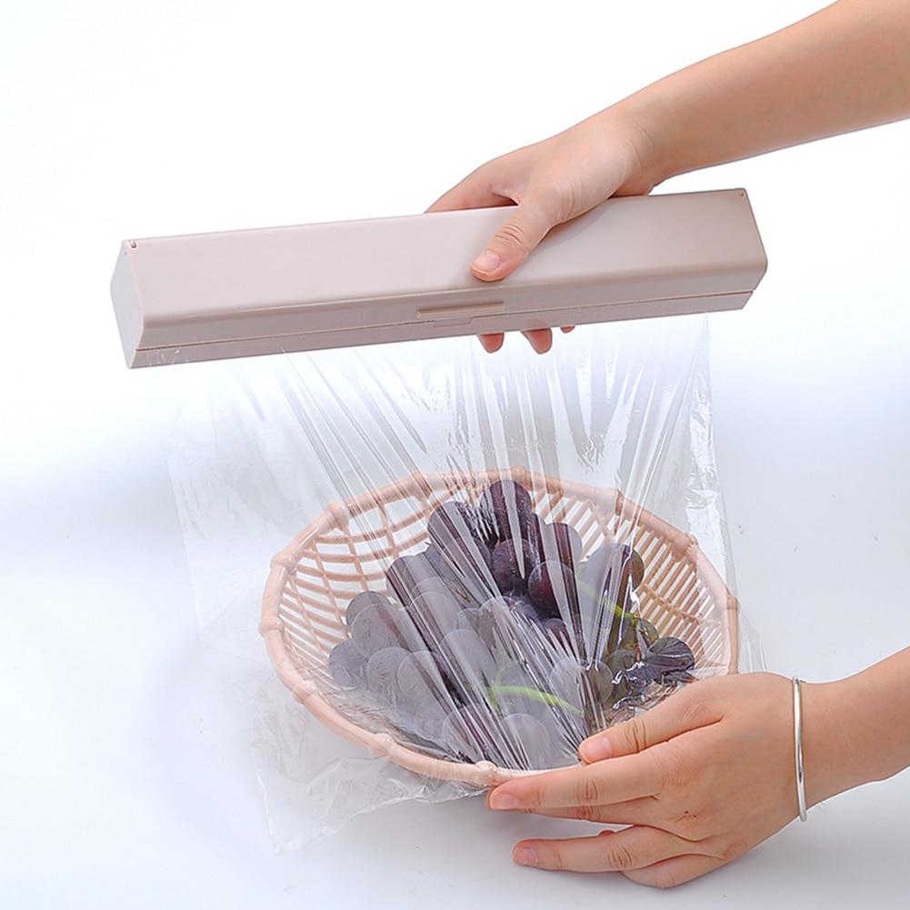 2019 New Plastic Food Wrap Cutter Dispenser Wrap Dispenser Kitchen Cling Preservative Film Cutter Storage Kitchen Accessories