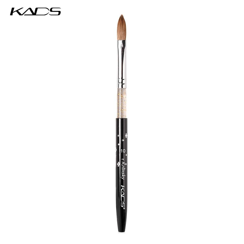 Kads 10 pçs profissional escova de acrílico 10 # kolinsky sable escova de arte do prego para unhas