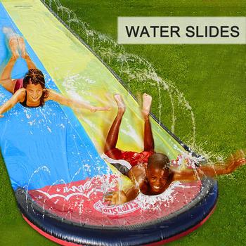 4 8 #215 1 4m dzieci Double Surf zjeżdżalnia ogrodowa wyścigi woda do podlewania trawników zjeżdżalnia Spray letnie gry wodne zabawka saneczkowa aquatiqu tanie i dobre opinie