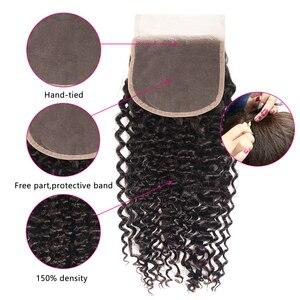 Image 3 - Nadula cabelo 4*4 fechamento do laço parte livre/parte do meio culry cabelo fechamento do laço brasileiro remy fechamento do cabelo humano natural preto