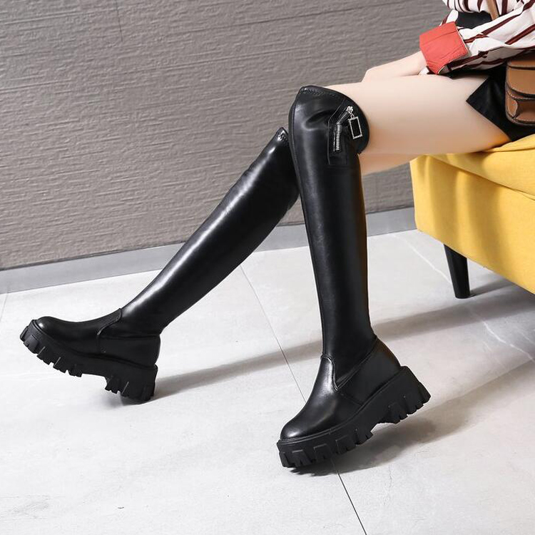 Black Pu Leather Thick Sole Over The Knee Boots Women Thigh High Platform Boots Slim Non-slip Sole Long Booties Ladies