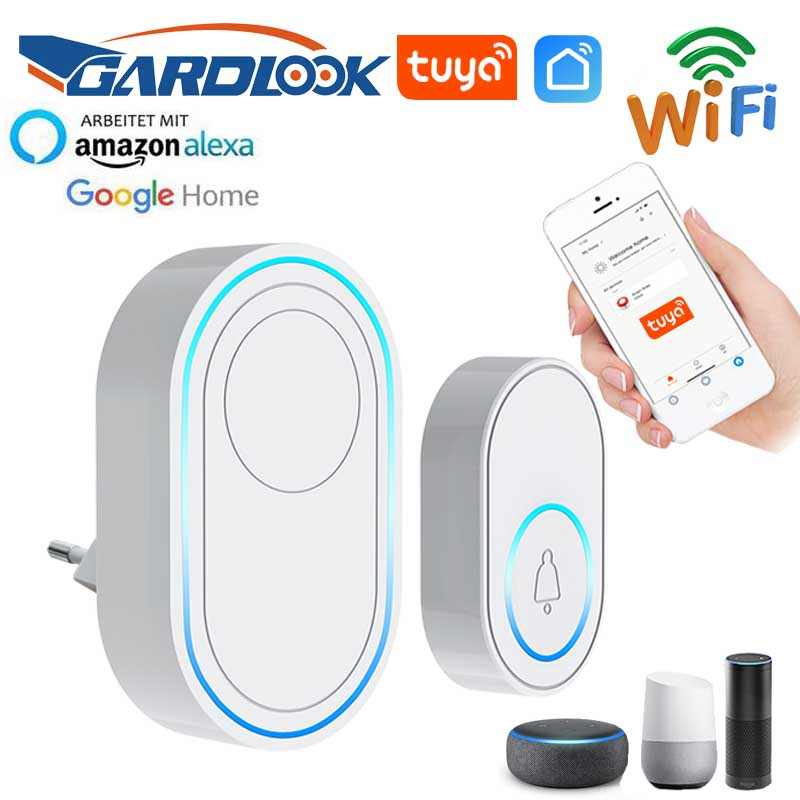 Wireless <font><b>Doorbell</b></font> APP Wifi <font><b>Doorbell</b></font> Intelligent Welcome Home Alarm System 433MHz White 300m <font><b>Remote</b></font> EU US Plug Smart Door Bell image