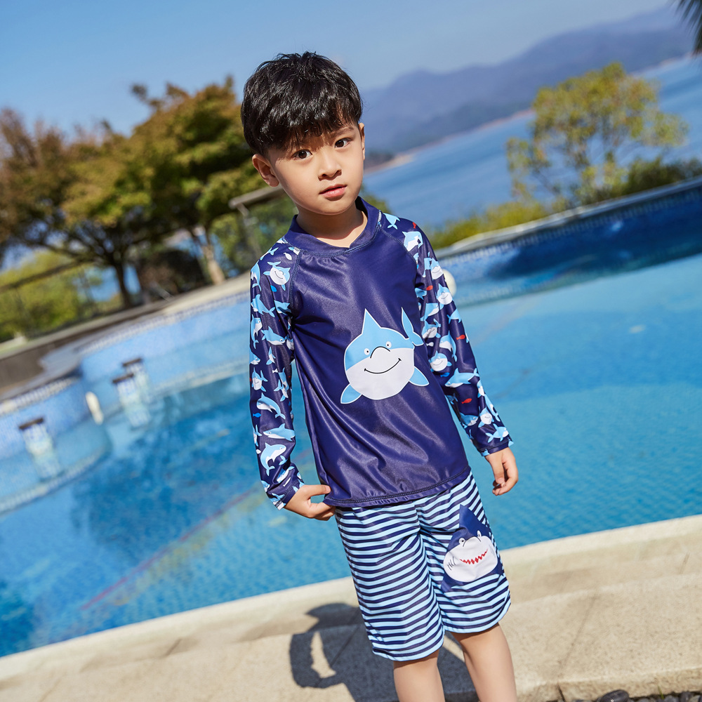 2019 New Style Hot Sales Two-piece Swimsuits Long Sleeve Shorts Sun-resistant Hot Springs Cute Cartoon BOY'S KID'S Swimwear 1035