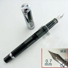 Asa sung 698 translúcido preto com clipe de prata, pistão caneta fonte médio nib escritório escola suprimentos penna stilografica
