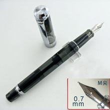 Wing Sung 698 반투명 블랙, 실버 클립, 피스톤 만년필 Medium Nib Office 학교 용품 penna stilografica