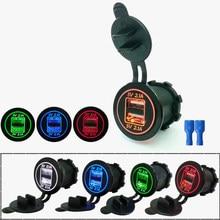 Çakmak soket Splitter 12 V-24 V 2 Port USB araba şarjı 5V 4.2A çıkışı ile led ışık güç adaptörü araba aksesuarları