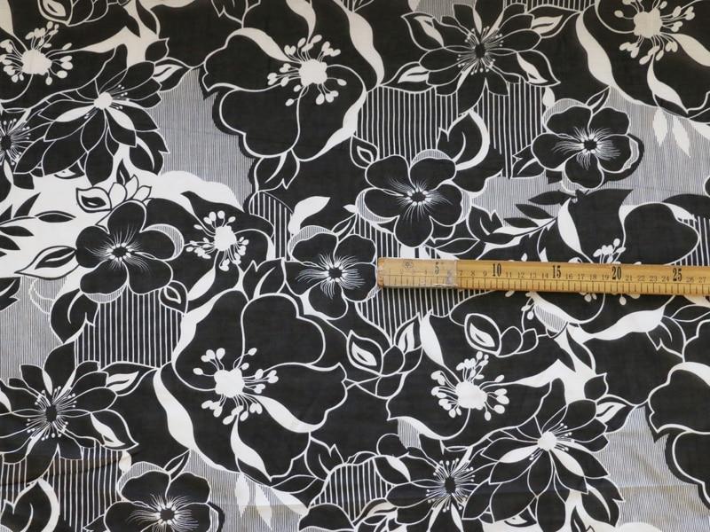 1 Yard Black White Flower Silk Cotton Gauze Fabric Vintage Dress Textile