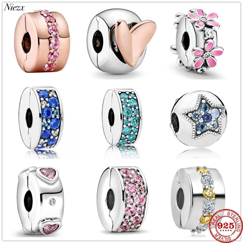 2020 New Freehand Heart Pink Pavé Clip charm Beads fit Original Pandora Charms Silver 925 Bracelet DIY Women Fashion Jewelry(China)