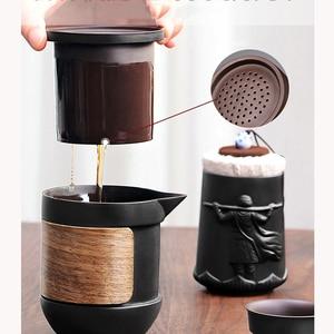 Image 3 - Yixing fioletowy piasek zestaw herbaty czarny/czerwony ceramiczny czajniczek kung fu gaiwan fioletowy piasek czajniczek filiżanka herbaty ceremonia podróży przenośne Teaset