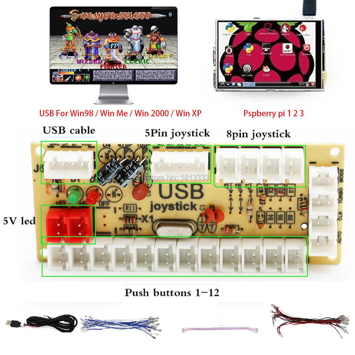 Diy gra arkade płyta sterowania zestaw zestawy zręcznościowe pakiet w tym happ styl joystick przycisk dla DIY contoller gra arkade