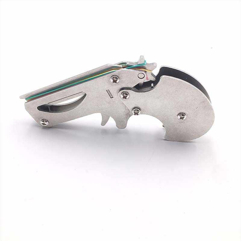 مسدس صغير شريط مطاطي بندقية طوي جودة عالية الفولاذ المقاوم للصدأ مسدس صغير لعبة طفل هدية لعبة الشعر المستمر مسدس