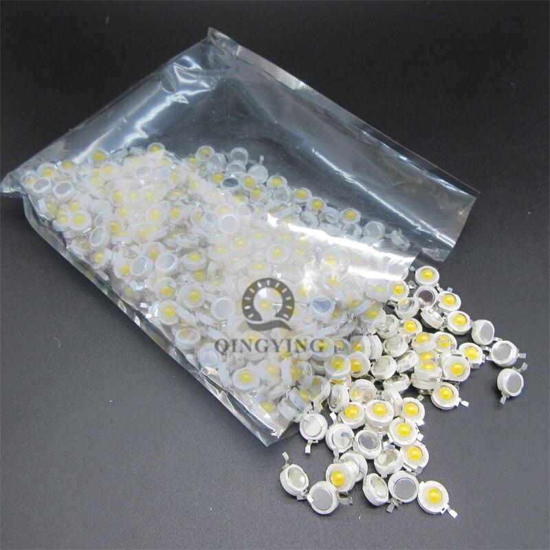 100 pces 1 w 3 w led leds de alta potência branco frio branco natural branco quente rgb vermelho verde azul amarelo fonte de luz