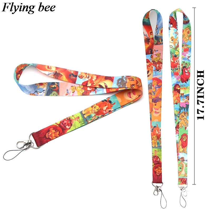 Flyingbee Creative Lion Keychain Lanyard Badge Lanyards Mobile Phone Rope Keyring Key Lanyard Neck Strap Accessories X0125