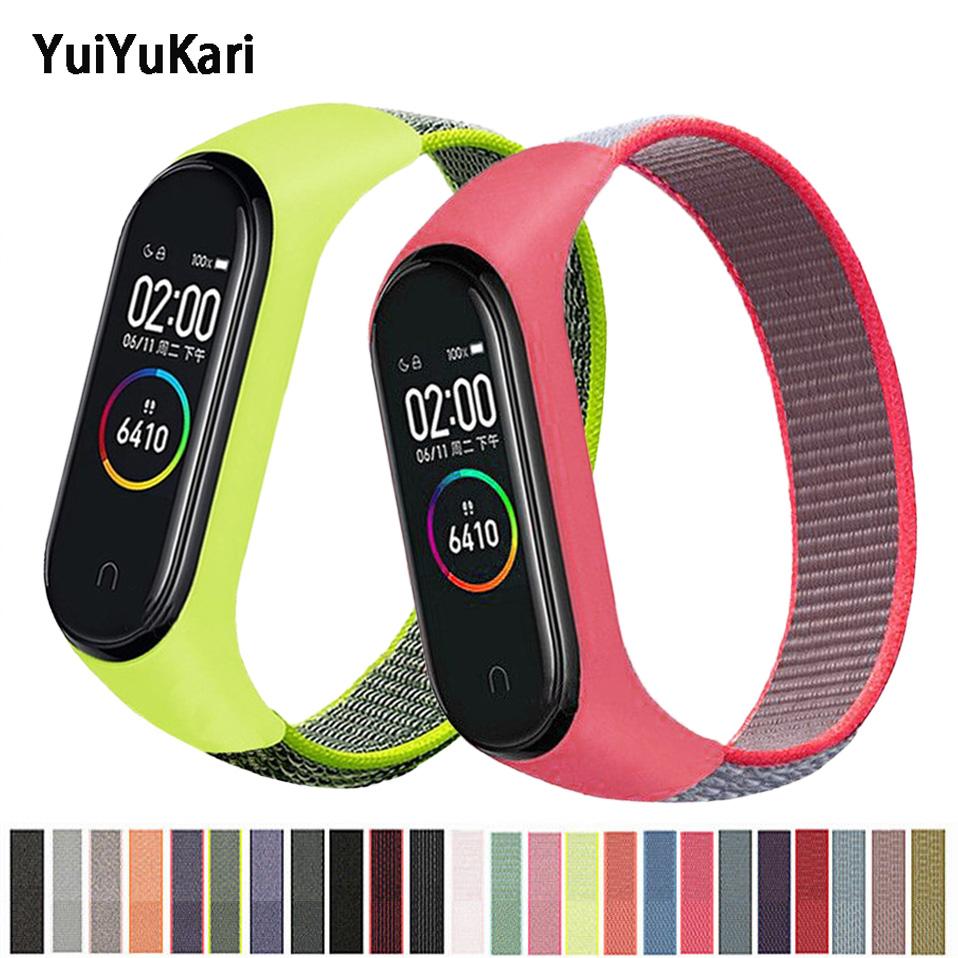 Bracelet for mi band 5 6 Strap Nylon Sport loop watch Belt pulsera correa Miband strap Wristband for xiaomi Mi band 4 3 Bracelet