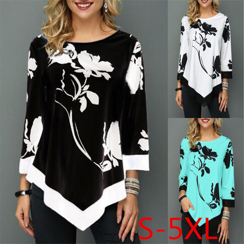 2019 New Spring Autumn Plus Size Women T Shirts Tops Loose Casual Three Quarter O-Neck Floral Print Irregular Female T Shirt 5XL