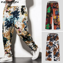 INCERUN Men Harem Pants Casual Cotton Streetwear Men Long Pants Vintage Printed Elastic Waist Baggy Joggers Ethnic Trousers 5XL