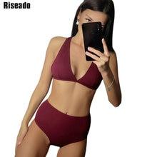 Riseado Sexy Plunging Bikinis 2020 High Waisted Swimwear Women Swimsuit Solid Deep V Bathing Suits biquini Summer Beach Wear