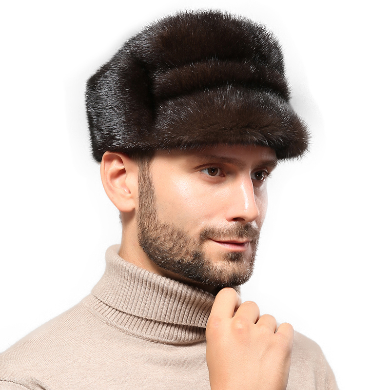 Fashion-Hat Real-Mink Winter Hat. New White Warm Go-Out Hot-Mid-Autumn French Men High-Quality