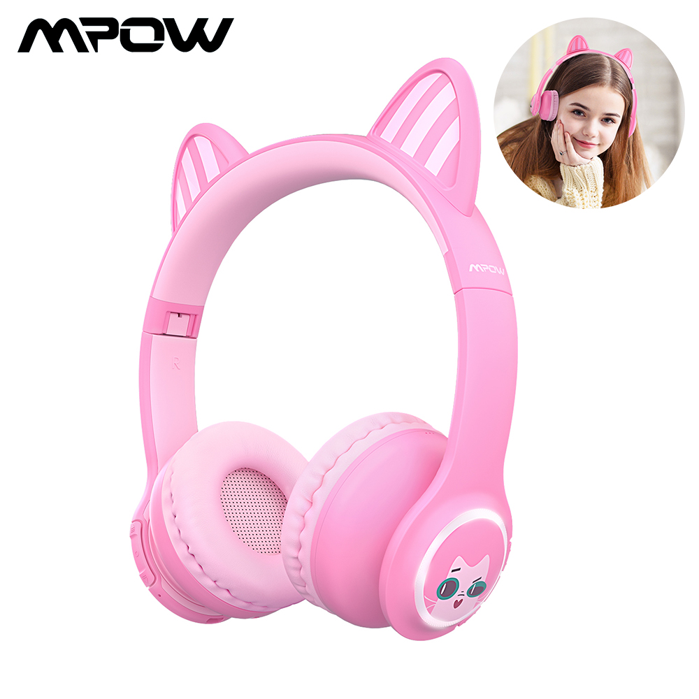 Mpow <font><b>Bluetooth</b></font> 5.0 Wireless <font><b>Headphone</b></font> Kids <font><b>Headphones</b></font> With Volume Limiting LED Light <font><b>Cat</b></font> Ear Pink 3.5mm Wired Headset For Girls image