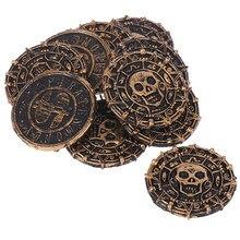 10 pçs/lote moedas de tesouro de plástico, pirata para festa, adereços de jogo de presente de natal, suprimentos para festa de halloween, brinquedos para crianças