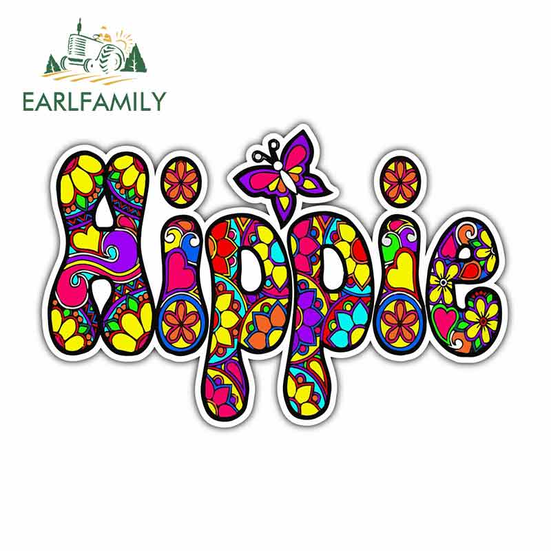 EARLFAMILY 13cm X 8.4cm For Hippie Peace Motorcycle Stickers Vinyl Material Fashion Decals Body For Car Creative Stickers