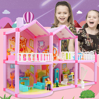 New DIY Family Doll House Dolls Accessories Toy With Miniature Furniture Garage DIY Doll House Casa Toys For Girls Birthday Gift