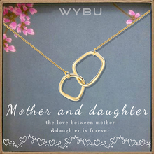 WYBU Mother Daughter Necklace - Two Interlocking Double Circles Necklace, Quality Jewelry Birthday Gift for Women Girls