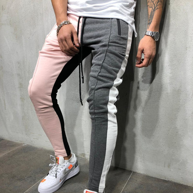 Mens Slim Fit Sweatpants Drawstring Striped Track Pants Color Block Patchwork Jogging Pant Sports Hip Hop Trousers Casual Pants
